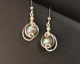 Gray Labradorite Gemstone Silver Drop Earrings, Iridescent Blue and Gray Gemstone Unique Wire Drop Earrings