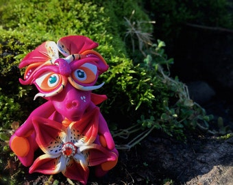 Polymer Clay Flower Dragon 'Lily' - Limited Edition Handmade Collectible