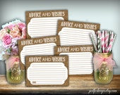 Advice And Wishes Cards Burlap Printable PDF DIY Rustic Shabby Chic Woodland Wedding Advice And Wishes Bridal Shower Advice & Wishes Cards
