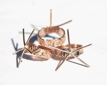 Ring Adjustable  Claw Setting For Natural Stones or Whatever with Flower Lotus Pattern