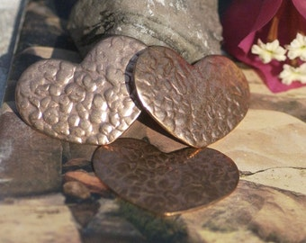 Antique Hammered Heart Squatty 35mm x 24mm Shape Cutout for Enameling Stamping Texturing Blanks Variety of Metals