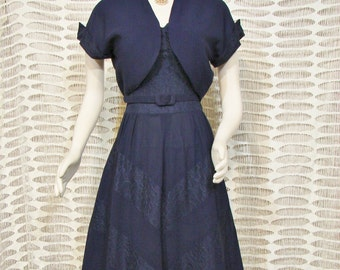 Dress - Original Nat Tuman New York - Navy Dress Set with Bolero Jacket and Belt - Circa 1950's