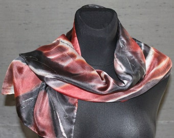 Black red white elegant feminine handpainted silk scarf. OOAK abstract art gift for ladies, birthday gift for her with positive energy.