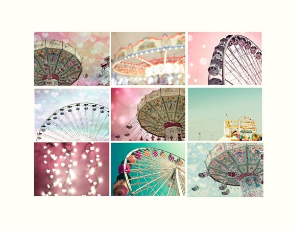 Sale - Carnival Decor, Bedroom Wall Art Set Nursery Art Set of Prints, Baby Girl Nursey Decor, Pink, Blue, Mint, Yellow, Teal