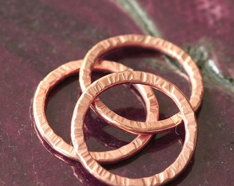 Texured Hammered Solid Copper Closed Jump Rings 16g (16 Gauge) Made with Round Hard Wire (Your choice, 8, 10 and 12mm)