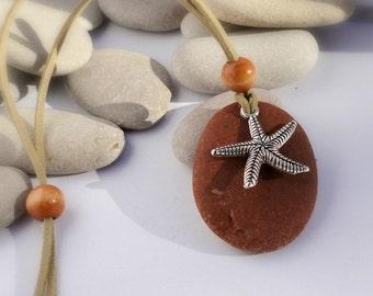 Natural stone pendant. VEGAN. Beach jewelry. Wooden bead.  Beach pebble and starfish charm.Travelers gift. Adjustable faux Suede . VEGAN