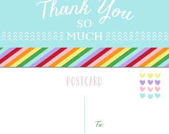 Rainbow Thank You Postcard
