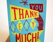 Thankyou Very Much Hand Printed Card