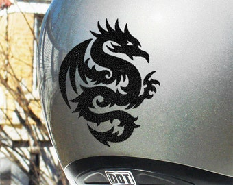 "Tribal Dragon Reflective Decal / Dragon Helmet Sticker / Reflective Dragon Decal / Tribal Dragon Motorcycle Sticker / 3.75""h x 3""w / #303R"