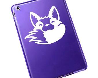 "Fox Biting Tail Decal / Fox Laptop Sticker / Fox Laptop Decal / Fox Tail Car Sticker / Cute Fox iPad Decal /  3""h x 3.75""w / #800"