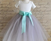 Dove grey Flower Girl tutu skirt with seafoam ribbon waist sash for weddings-- sewn and long.
