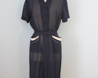 1940s dress / 40s sheer rayon dress /
