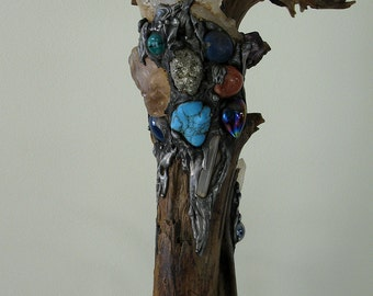 Elaboratly Decorated Walking Staff with gemstones, clear quartz, Staff, walking stick wicca sorcerers