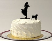 Silhouette Wedding Cake Topper with Pet Pug Groom Lifting Up Bride Wedding Cake Topper Bride + Groom + Dog Pug