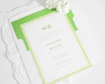 Green Wedding Invitation - Green, Spring, Apple, Kelly, Borders - Monogram Wedding Invitations - Modern Initials Deposit