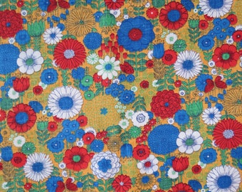 """1960s 1970s Vintage Fabric - Yellow Red Blue Floral Cotton - 1 1/2 yds x 44"""" wide"""