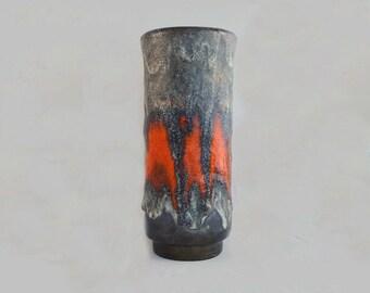 Vintage Vase Germany Fat Lava Red Orange Drip Glaze