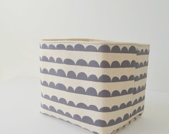 Fabric Basket Medium - Half Circles on Natural