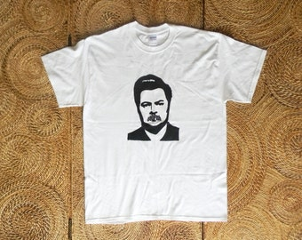 Ron Swanson / Catfish Mustache Band T-Shirt Screen Print Tee