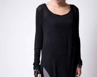 Sheer Long Top / Asymmetrical Oversized Sweater / Casual Tunic / Long Sleeve Blouse / Casual Shirt / marcellamoda - MB101