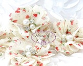"NEW: 4pcs Aubrey POPPY Flowers Red Tulip Patterned - 2"" Soft Chiffon w/ pearls rhinestones Mesh Layered Small Fabric Flowers"