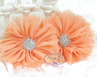 "2 pieces 2.5"" inch Adeila - Peach Apricot Orange Shabby Frayed  Chiffon Ruffle Flowers with Rhinestone,applique , hair accessories"