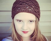 Ready to Ship, Open Stitch, Lace Pattern Slouch Beanie in Brown