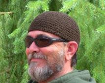 Guys Beanie Short Hair Hat Crocheted in Dark Coffee Brown