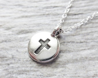 Cross Charm Necklace, Stamped Tiny Charm Circle Pendant, Cross Sign Symbol Charm Necklace, Jesus, Spiritual, Religious