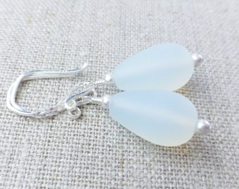 Opal Seaglass Earrings, White Frosted Teardrops, Sterling Silver Sea Glass Earrings, Spring Fashion, Gift For Her, Matte White, Beach