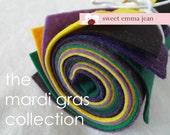 9x12 Wool Felt Sheets - The Mardi Gras Collection - 8 Sheets of Felt