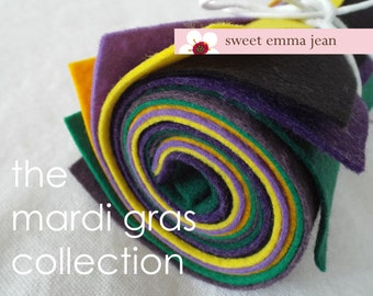 9x12 Wool Felt Sheets - The Mardi Gras Collection - 8 Sheets of Felt