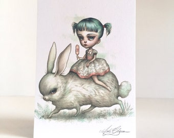 The Bunny Rider - signed 4 x 5.75 Mini Art Print by Mab Graves - unframed - open edition