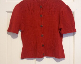 1940s RARE Hand Knit Cable Knit Puff Sleeve Cardigan Sweater