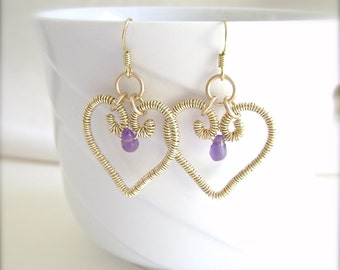 Amethyst Earrings, Hearts, Artisan Made, Gold Wire Wrapped, Gold Wire Earrings, Amethyst Heart, Valentine Gift, 888