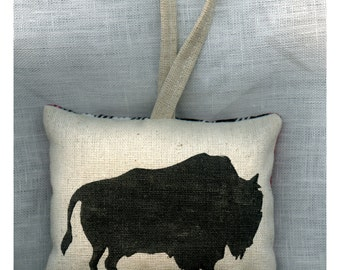 American Bison Hand Stamped Ornament by SBMathieu