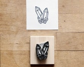 Raw Quartz No. 9 - Hand Carved Rubber Stamp - Crystal Geometric