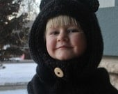 Made to Order Hand Knit Hooded Cowl with Bear Ears Option, Babies to Adults