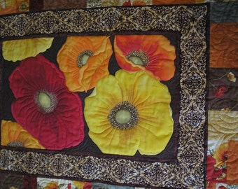 Quilted Bed Runner with Hand Painted Red Orange Yellow Poppies  Wall Hanging Quiltsy Handmade