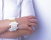 White bracelet with real gold plated brick made with LEGO bricks