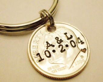 10 Year Anniversary DIME Keychain; Couple Gift, 10th/Tenth Wedding, Personalized Mens Womens Initials Date, UNCIRCULATED 2006 2007 2016 2017