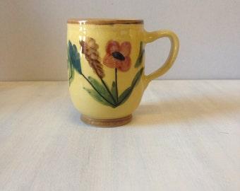 Handpainted Greek china flower mug cup brown porcelain harvest autumn colours tea coffee Greece
