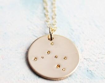 Zodiac Constellation Necklace, Gold Zodiac Necklace, zodiac charm, star sign jewelry, Sagittarius constellation, horoscope jewelry