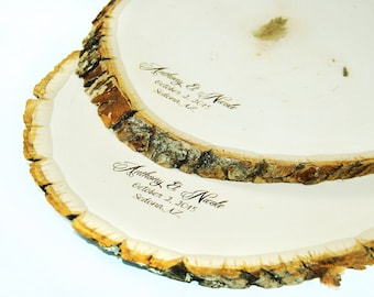 Rustic Wood Tree Slice Centerpieces, Trivets, Hot plates, Chargers - 11 - 14 inch Personalized