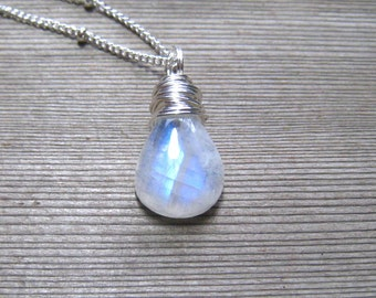 AAA Rainbow Moonstone Necklace,  Smooth Pear Shape,  Sterling Silver,  Moonstone Jewelry, Wire Wrapped,  Blue Flash Natural Stone