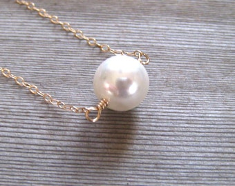 14K Gold Single Pearl Choker, Wedding Jewelry, White Pearl Necklace, Minimalist Everyday Jewelry, June Birthstone
