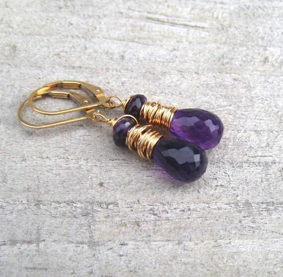 14K Gold Filled Amethyst Earrings,  February Birthstone Jewelry,  Purple Dangle Earrings, Amethyst Jewelry