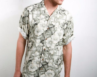 silk 90s TROPICAL short sleeve SURFER button up shirt