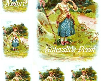 Little Bo Peep Waterslide Decal Sheet 8 x 10 inches Home Decor Furniture Walls Transfer Images 1 Large 5 Small