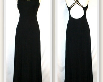 Kathryn Dianos/Low Cut Back/Seed Pearl Encrusted Straps/Black Vintage Gown